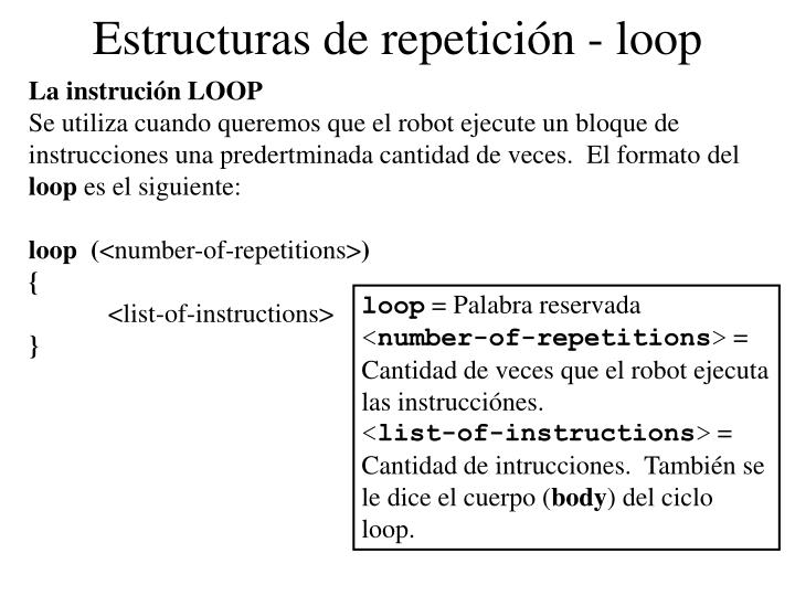 Estructuras de repetición - loop