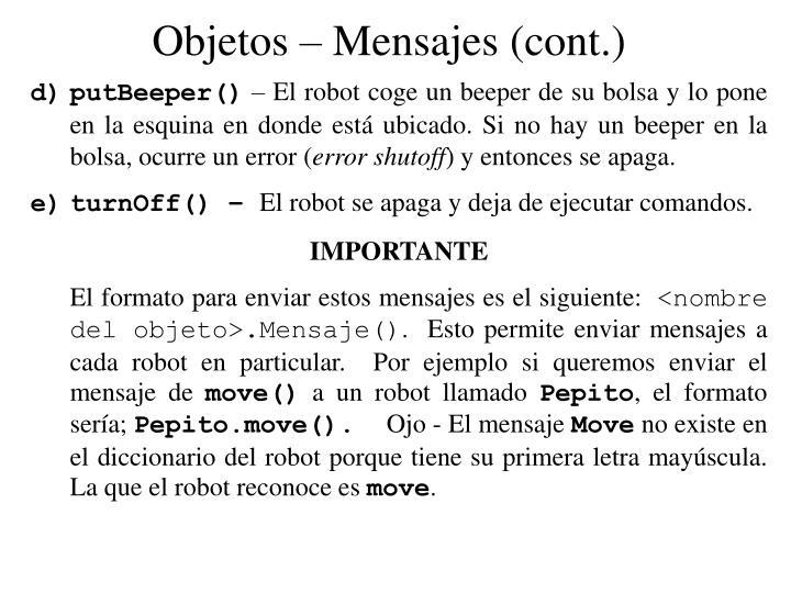 Objetos – Mensajes (cont.)