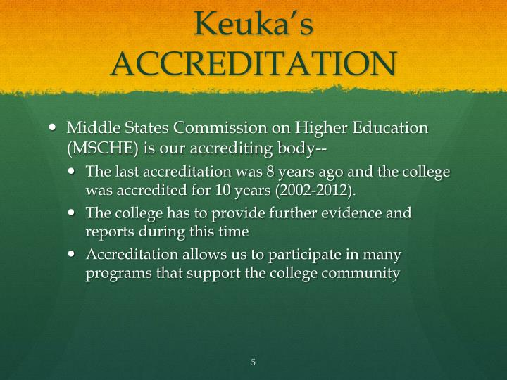 Keuka's ACCREDITATION