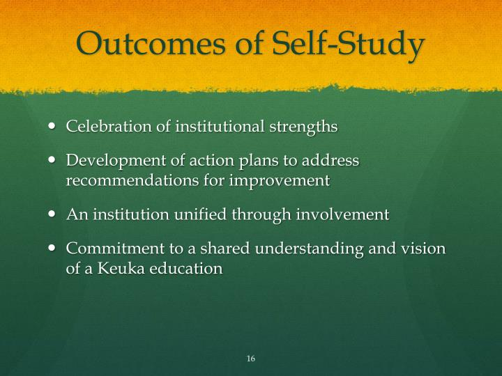Outcomes of Self-Study