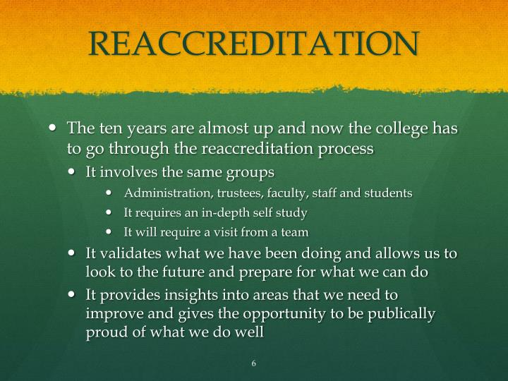 REACCREDITATION