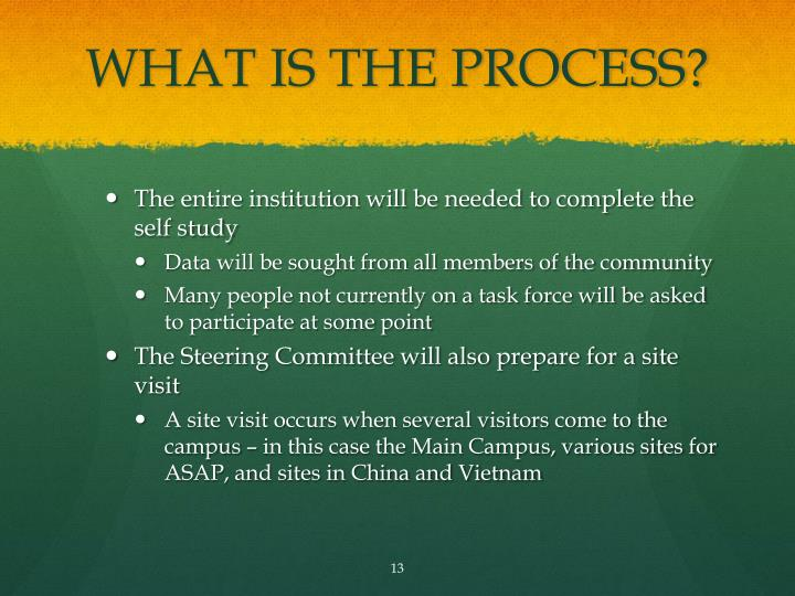 WHAT IS THE PROCESS?