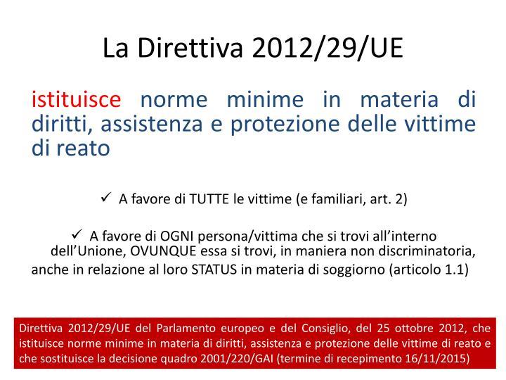 La Direttiva 2012/29/UE