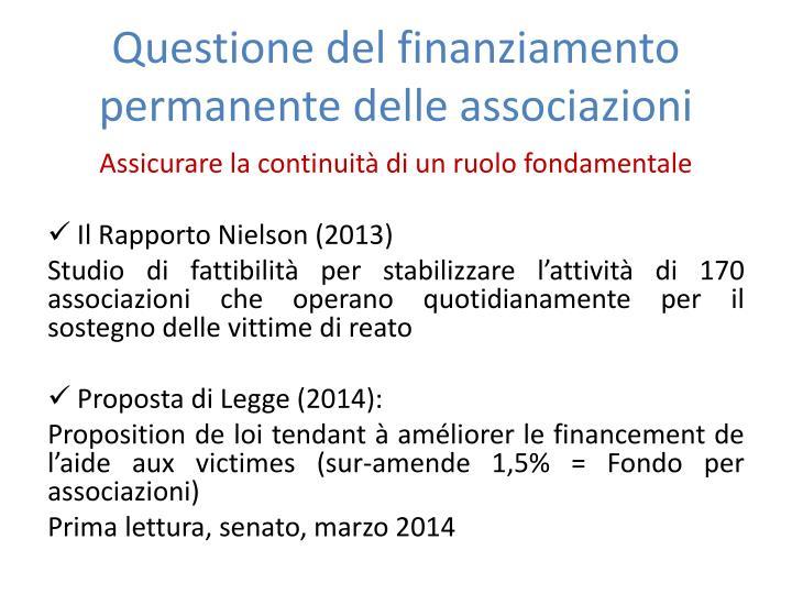 Questione del finanziamento permanente delle associazioni