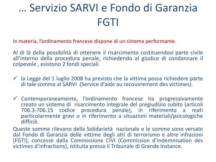 … Servizio SARVI e Fondo di Garanzia FGTI