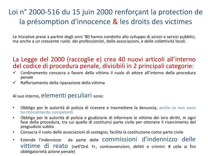 Loi n° 2000-516 du 15 juin 2000 renforçant la protection de la présomption d'innocence