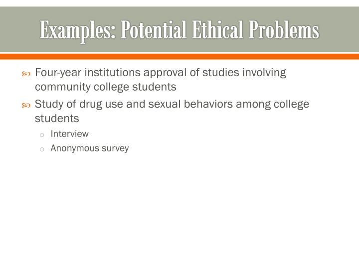 Examples: Potential Ethical Problems