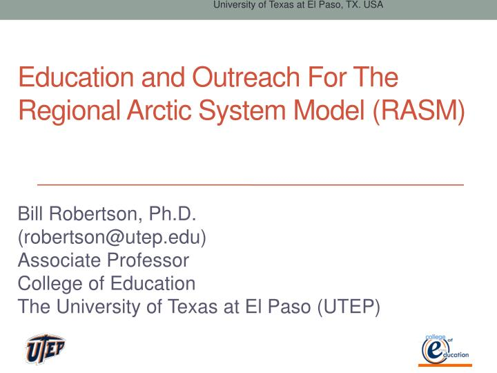 Education and outreach for the regional arctic system model rasm