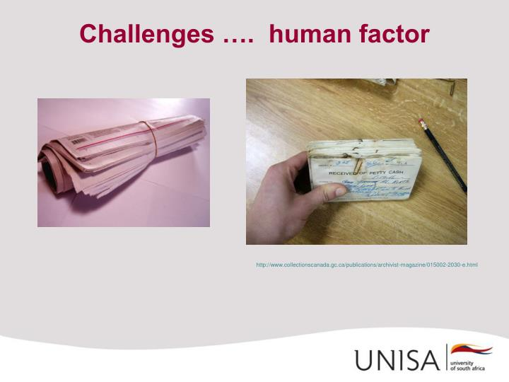Challenges ….  human factor