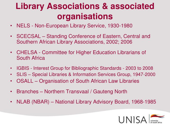Library Associations & associated organisations