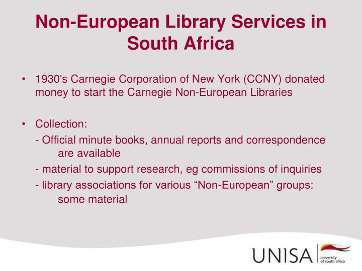 Non-European Library Services in South Africa