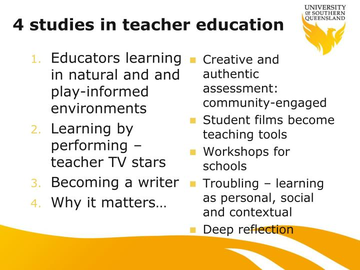 4 studies in teacher education