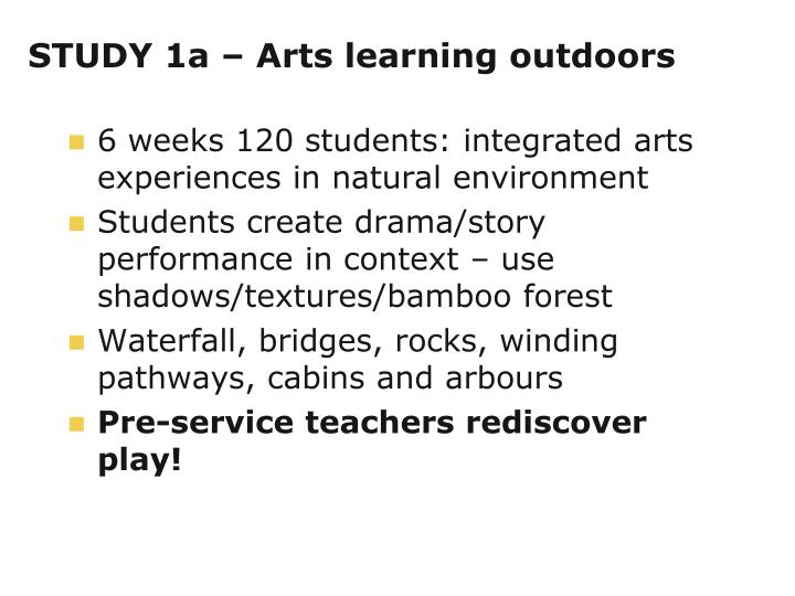 STUDY 1a – Arts learning outdoors