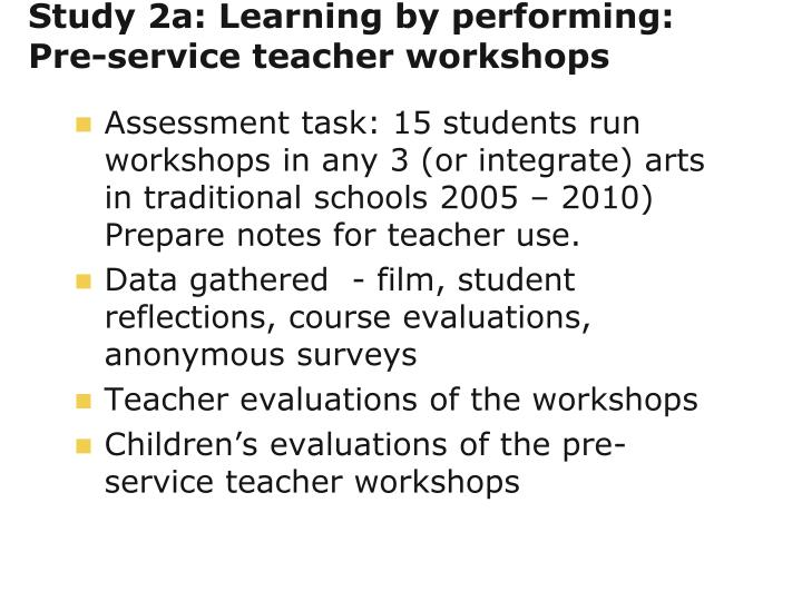 Study 2a: Learning by performing: Pre-service teacher workshops