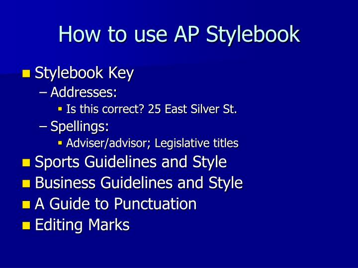 How to use AP Stylebook