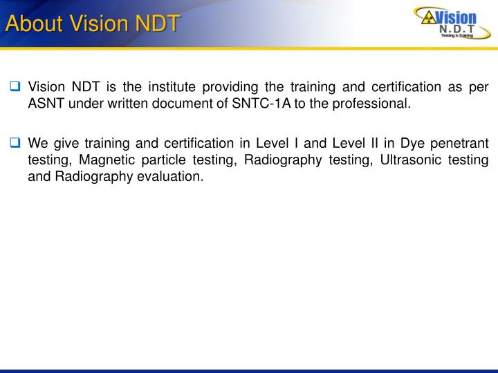 About vision ndt
