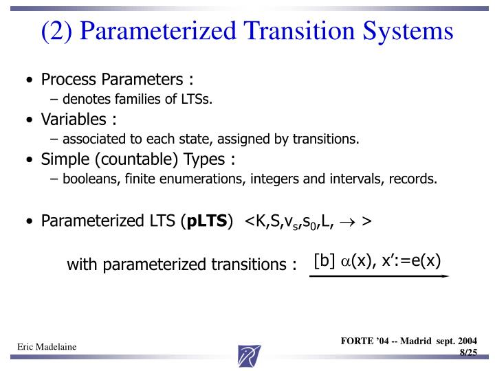 (2) Parameterized Transition Systems