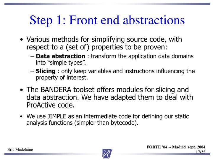 Step 1: Front end abstractions