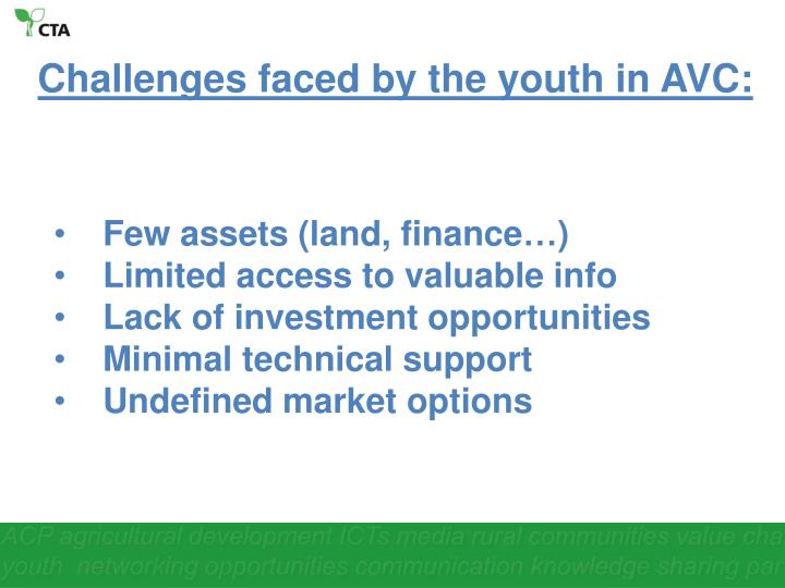 Challenges faced by the youth in AVC: