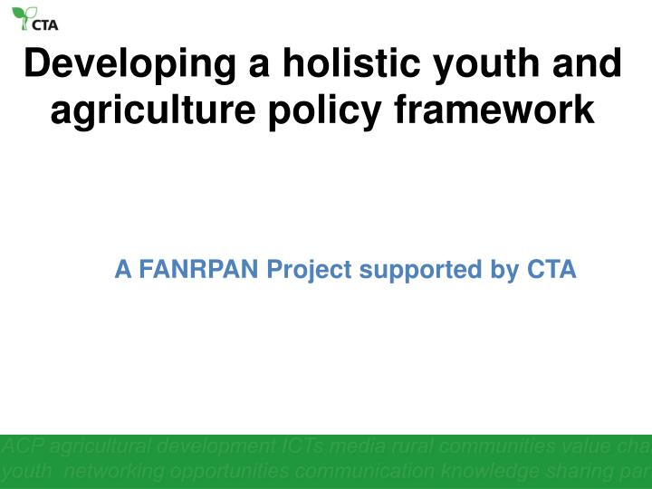 Developing a holistic youth and agriculture policy framework