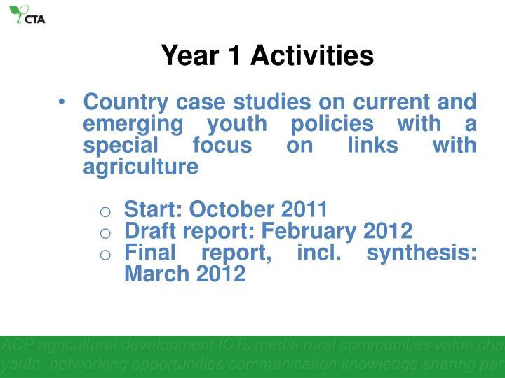 Year 1 Activities