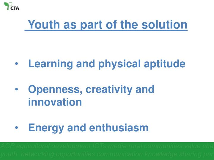 Youth as part of the solution