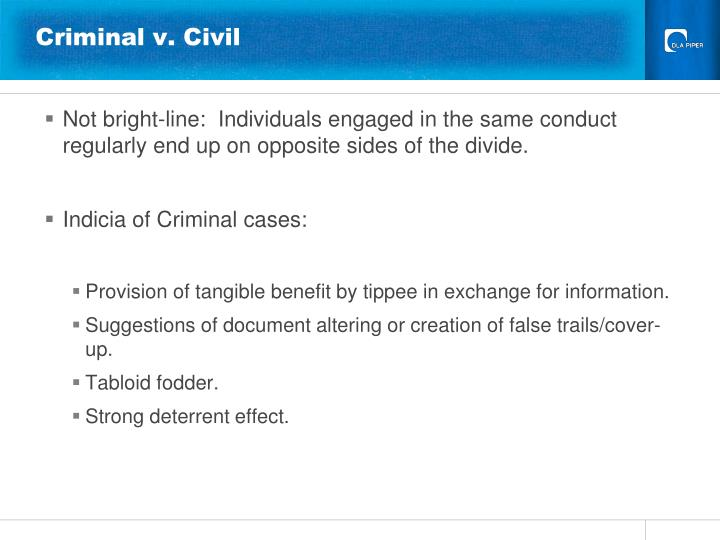 Criminal v. Civil
