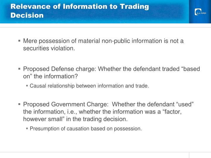 Relevance of Information to Trading Decision
