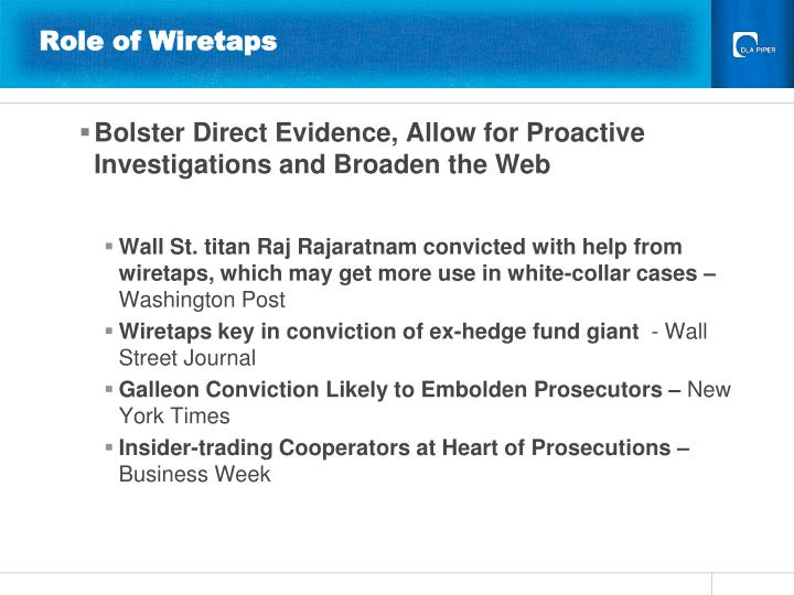 Role of Wiretaps