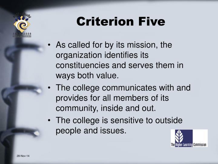 Criterion Five