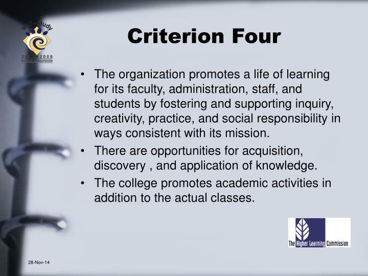 Criterion Four