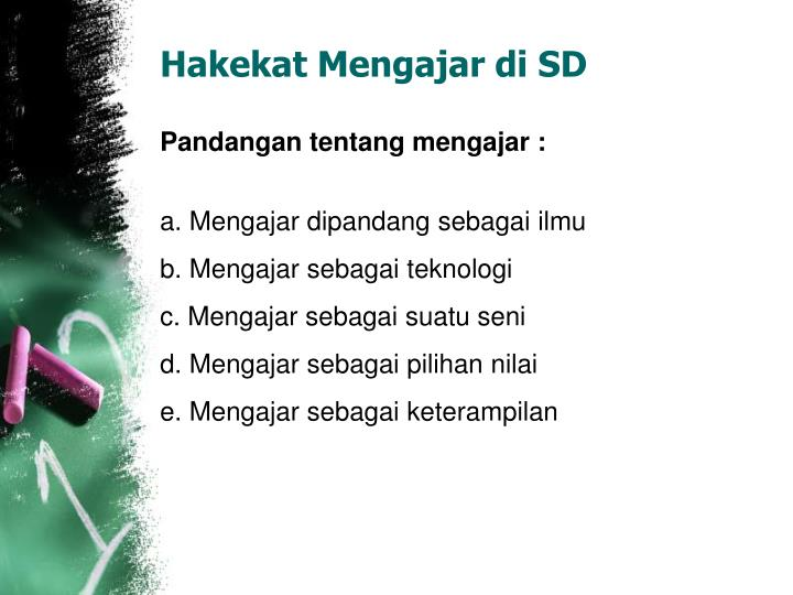 Hakekat Mengajar di SD