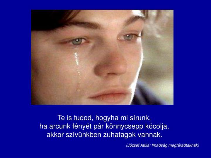 Te is tudod, hogyha mi sírunk,