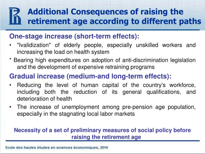 Additional Consequences of raising the retirement age according to different