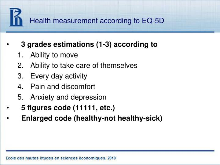 Health measurement according to EQ-5D