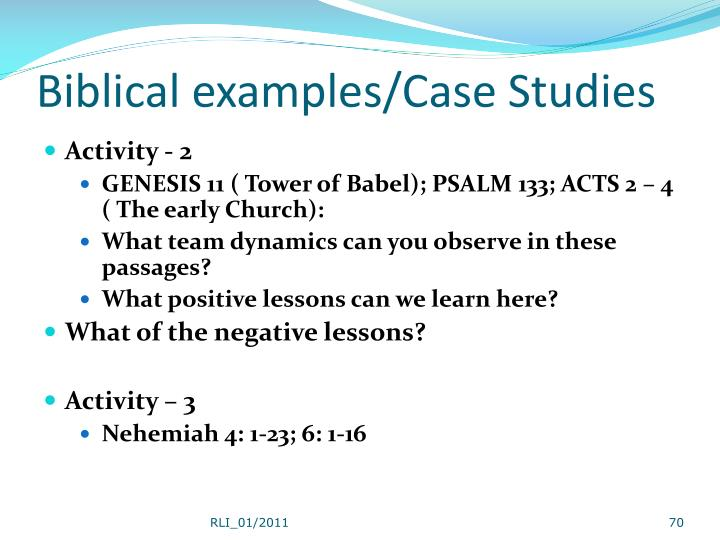 Biblical examples/Case Studies