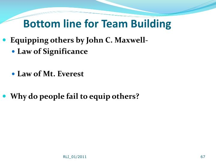 Bottom line for Team Building