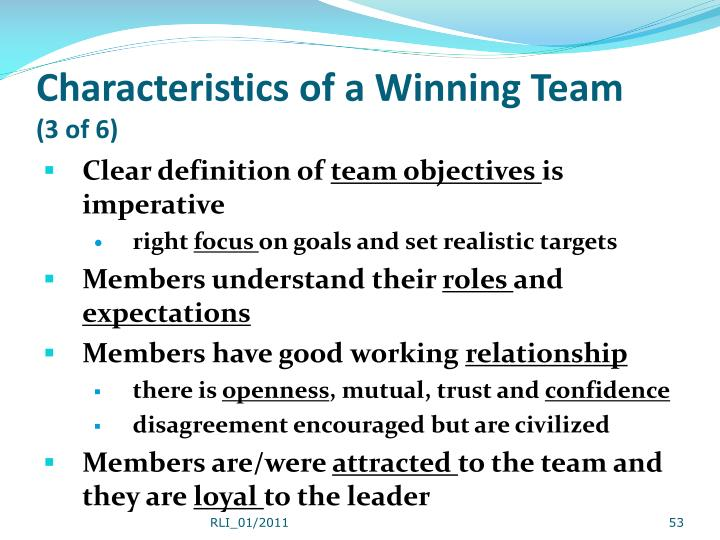 Characteristics of a Winning Team