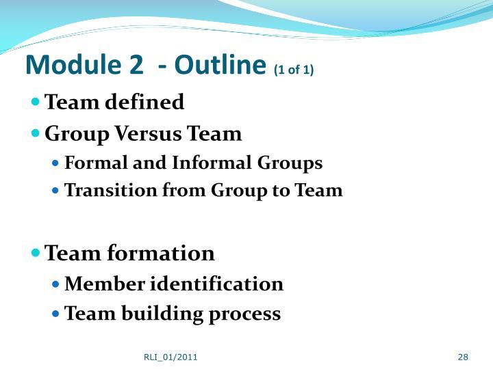 Module 2  - Outline