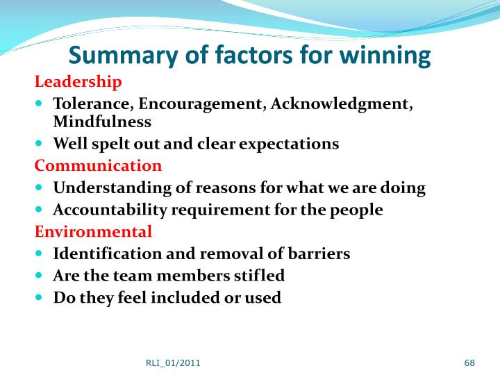 Summary of factors for winning