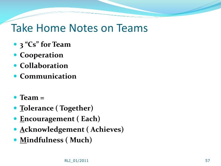 Take Home Notes on Teams