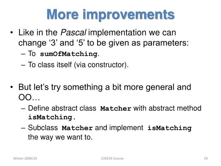 More improvements