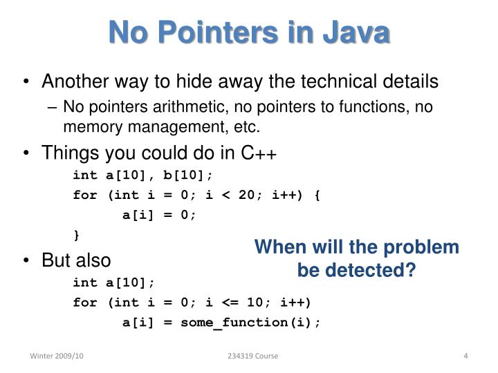 No Pointers in Java