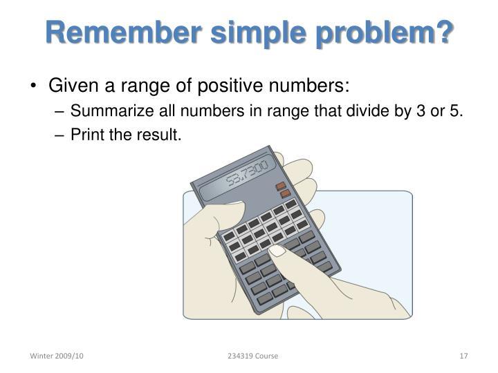 Remember simple problem?
