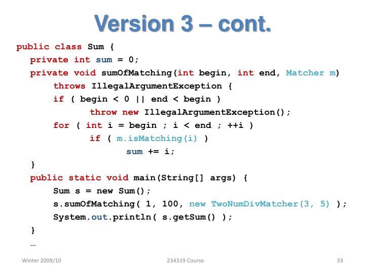 Version 3 – cont.