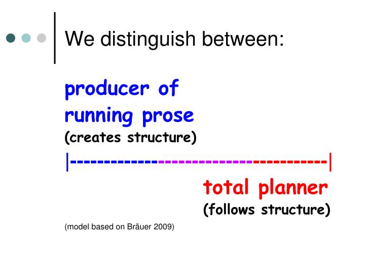 We distinguish between: