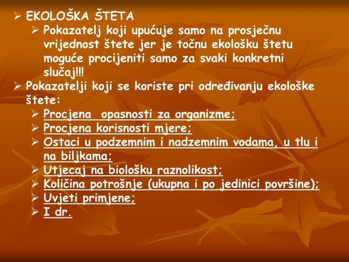 EKOLOŠKA ŠTETA