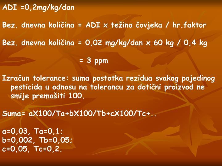 ADI =0,2mg/kg/dan
