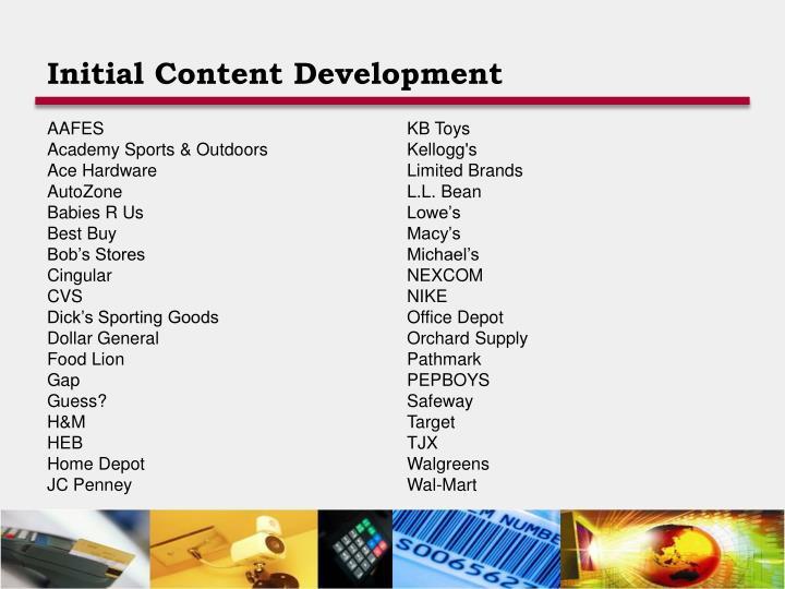 Initial Content Development