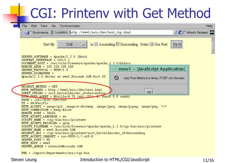 CGI: Printenv with Get Method